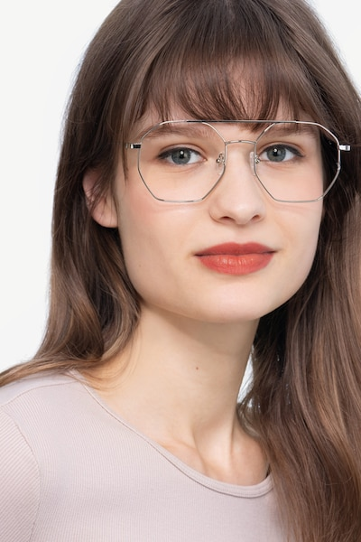 Eight Silver Metal Eyeglass Frames for Women from EyeBuyDirect, Front View