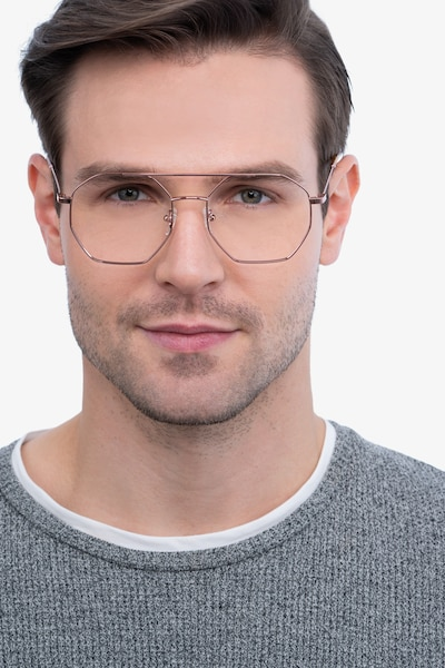 Eight Rose Gold Metal Eyeglass Frames for Men from EyeBuyDirect, Front View