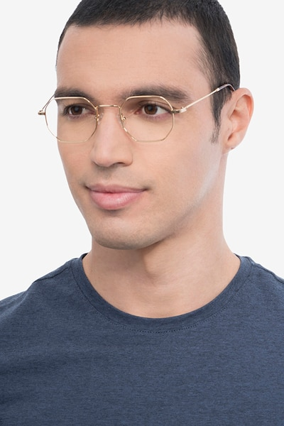 Soar Golden Metal Eyeglass Frames for Men from EyeBuyDirect