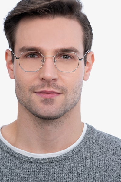Soar Silver Metal Eyeglass Frames for Men from EyeBuyDirect, Front View