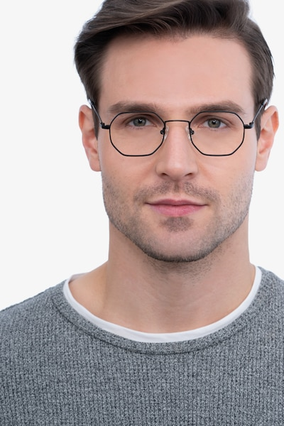 Soar Black Metal Eyeglass Frames for Men from EyeBuyDirect, Front View