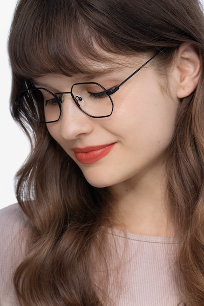 Soar Black Metal Eyeglass Frames for Women from EyeBuyDirect, Front View