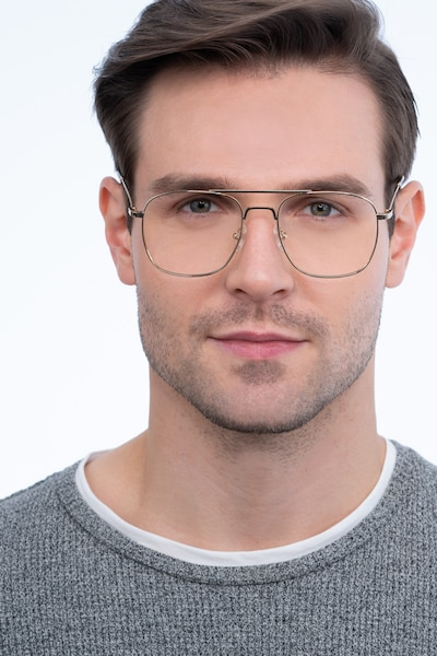 Fame Golden Metal Eyeglass Frames for Men from EyeBuyDirect, Front View