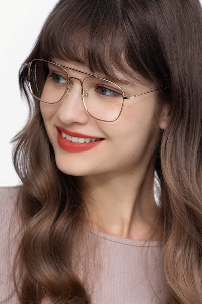 Fame Golden Metal Eyeglass Frames for Women from EyeBuyDirect, Front View
