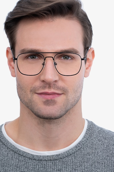 Fame Black Metal Eyeglass Frames for Men from EyeBuyDirect, Front View