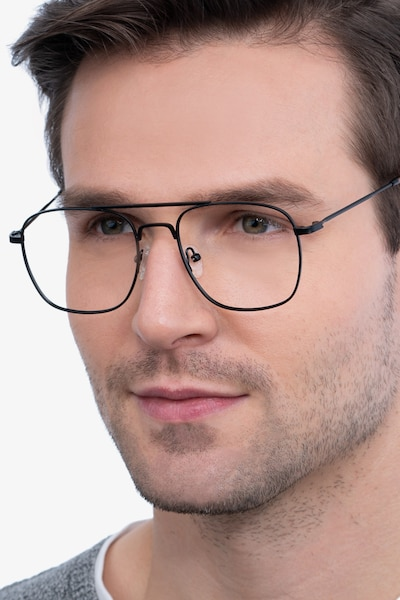 Fame Black Metal Eyeglass Frames for Men from EyeBuyDirect
