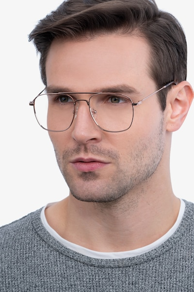 Fame Rose Gold Metal Eyeglass Frames for Men from EyeBuyDirect, Front View