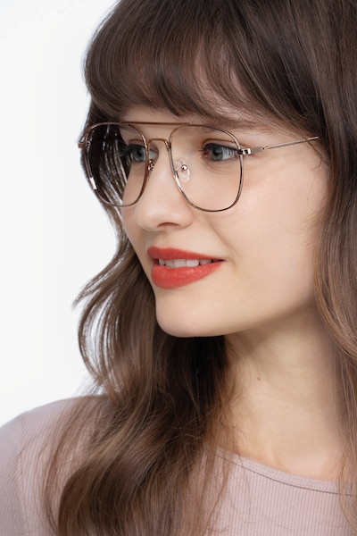 Fame Rose Gold Metal Eyeglass Frames for Women from EyeBuyDirect, Front View