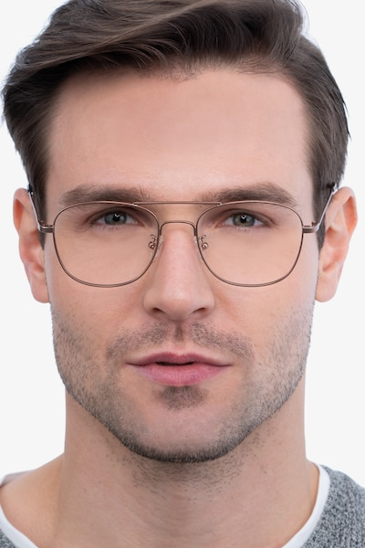 Courser Rose Gold Metal Eyeglass Frames for Men from EyeBuyDirect, Front View