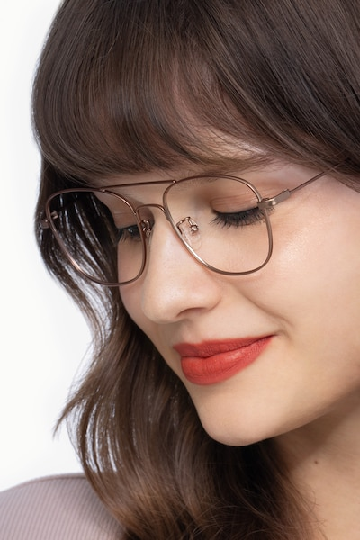 Courser Rose Gold Metal Eyeglass Frames for Women from EyeBuyDirect