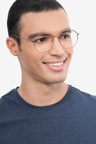 Octave Rose Gold Metal Eyeglass Frames for Men from EyeBuyDirect, Front View