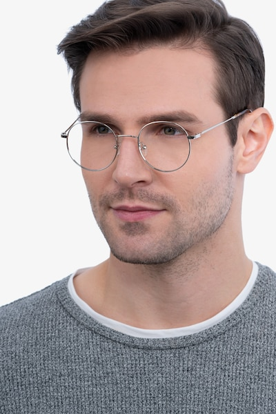 Streetwise Silver Metal Eyeglass Frames for Men from EyeBuyDirect, Front View