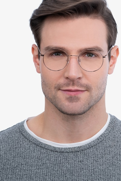 Streetwise Rose Gold Metal Eyeglass Frames for Men from EyeBuyDirect, Front View