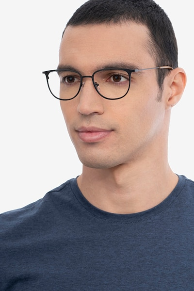 Vita Black Metal Eyeglass Frames for Men from EyeBuyDirect, Front View