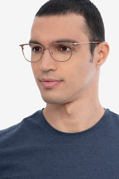 Vita Rose Gold Metal Eyeglass Frames for Men from EyeBuyDirect, Front View