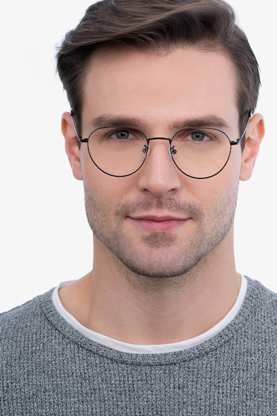 Inspire Black Metal Eyeglass Frames for Men from EyeBuyDirect, Front View