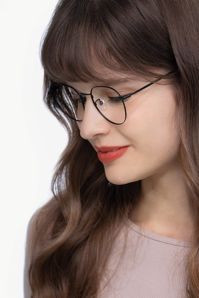 Inspire Black Metal Eyeglass Frames for Women from EyeBuyDirect