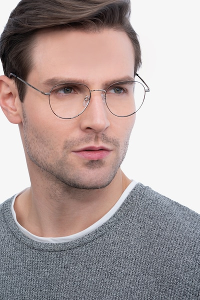 Inspire Black Silver Metal Eyeglass Frames for Men from EyeBuyDirect, Front View