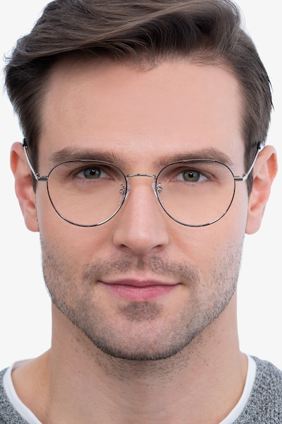 Inspire Black Silver Metal Eyeglass Frames for Men from EyeBuyDirect