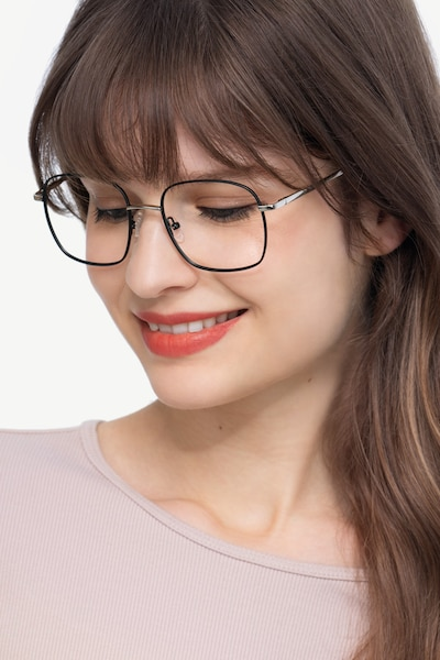 Archive Black Metal Eyeglass Frames for Women from EyeBuyDirect, Front View