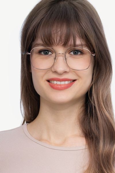 Archive Rose Gold Metal Eyeglass Frames for Women from EyeBuyDirect, Front View