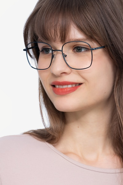 Archive Navy Metal Eyeglass Frames for Women from EyeBuyDirect, Front View
