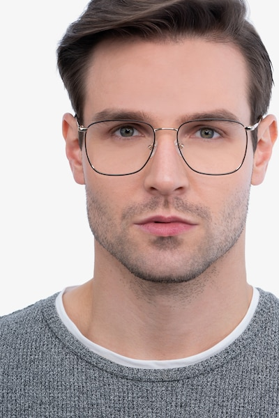 Reason Black Gold Metal Eyeglass Frames for Men from EyeBuyDirect, Front View