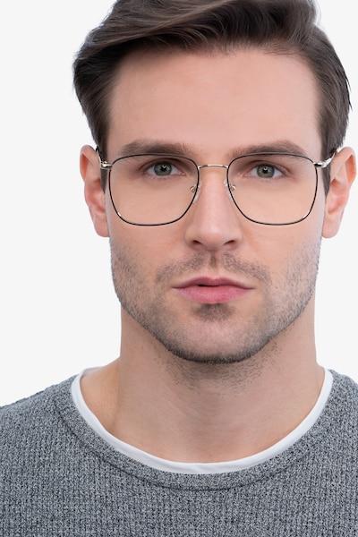 Reason Black Gold Métal Montures de Lunettes pour Hommes d'EyeBuyDirect, Vue de Face