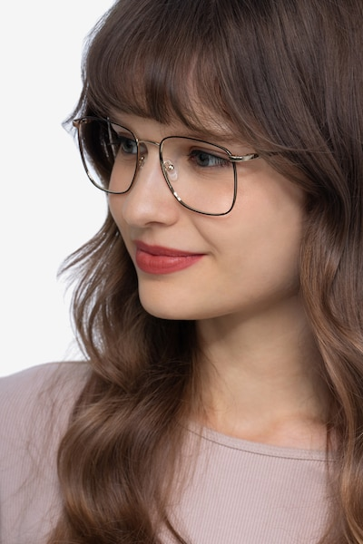 Reason Black Gold Metal Eyeglass Frames for Women from EyeBuyDirect, Front View