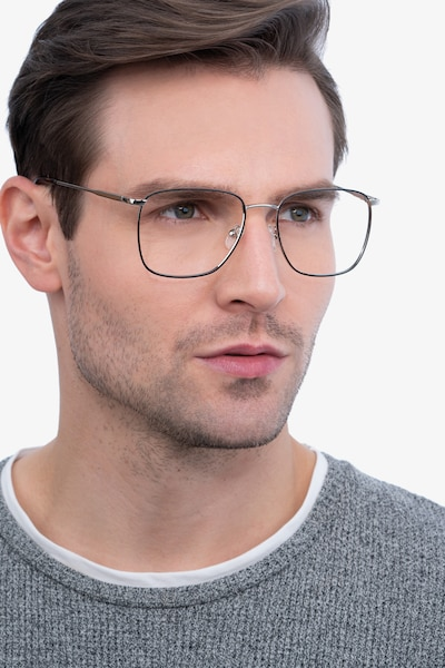 Reason Black Silver Metal Eyeglass Frames for Men from EyeBuyDirect, Front View