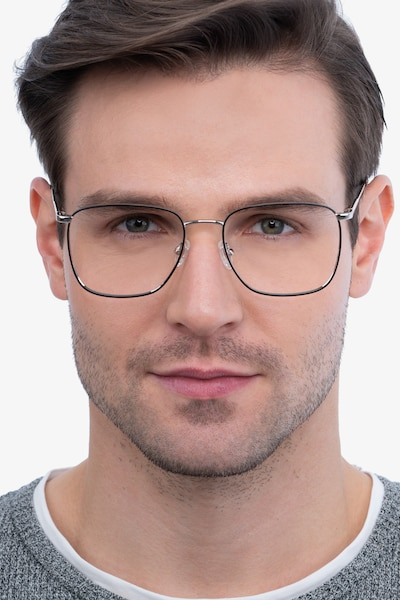 Reason Black Silver Metal Eyeglass Frames for Men from EyeBuyDirect