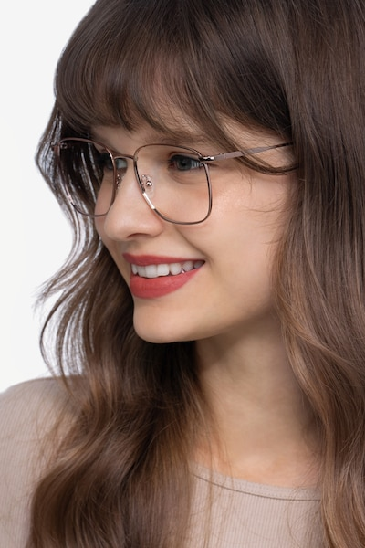 Reason Rose Gold Metal Eyeglass Frames for Women from EyeBuyDirect, Front View