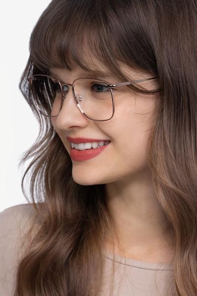 Reason Rose Gold Métal Montures de Lunette de vue pour Femmes d'EyeBuyDirect, Vue de Face