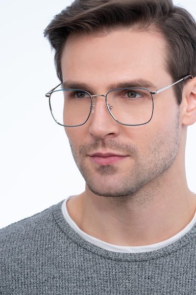 Reason Navy Metal Eyeglass Frames for Men from EyeBuyDirect, Front View