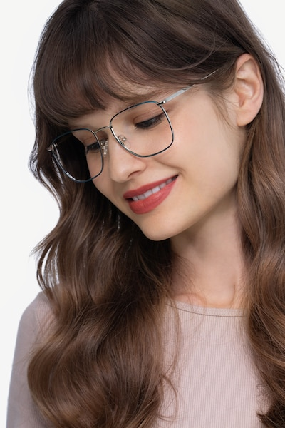 Reason Navy Metal Eyeglass Frames for Women from EyeBuyDirect, Front View