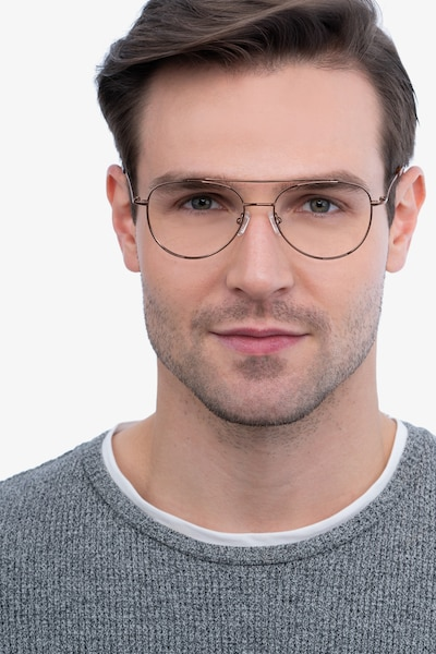 Max Brown Metal Eyeglass Frames for Men from EyeBuyDirect, Front View