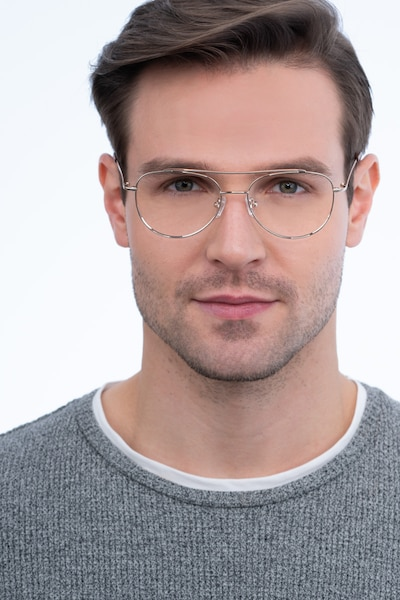 Max Gold Metal Eyeglass Frames for Men from EyeBuyDirect, Front View