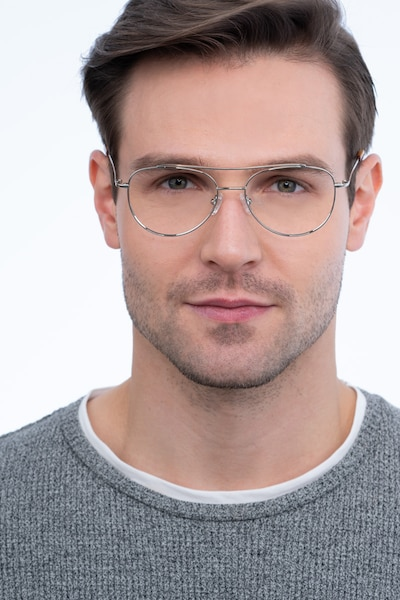 Max Silver Metal Eyeglass Frames for Men from EyeBuyDirect, Front View