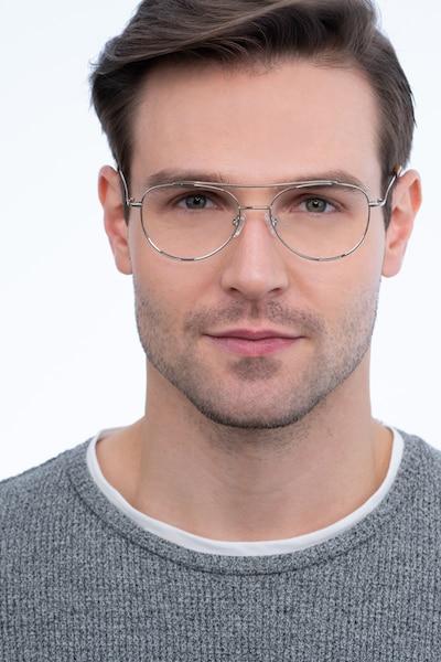 Max Argenté Métal Montures de Lunettes pour Hommes d'EyeBuyDirect, Vue de Face