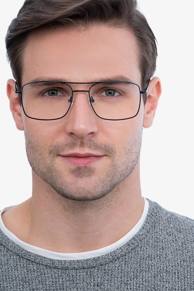 Daymo Navy Metal Eyeglass Frames for Men from EyeBuyDirect, Front View