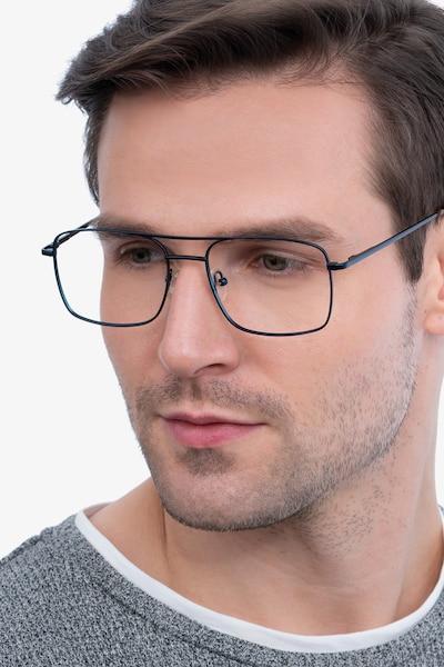 Daymo Navy Metal Eyeglass Frames for Men from EyeBuyDirect