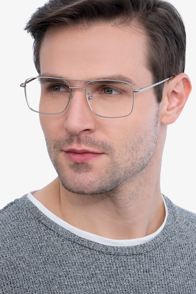 Daymo Silver Metal Eyeglass Frames for Men from EyeBuyDirect, Front View