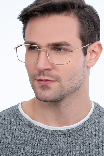 Daymo Gold Metal Eyeglass Frames for Men from EyeBuyDirect, Front View