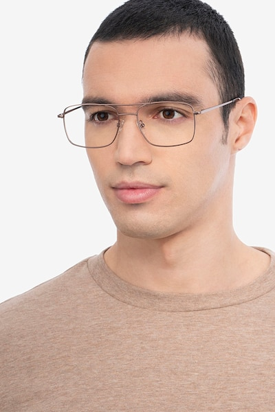 Daymo Brown Metal Eyeglass Frames for Men from EyeBuyDirect, Front View