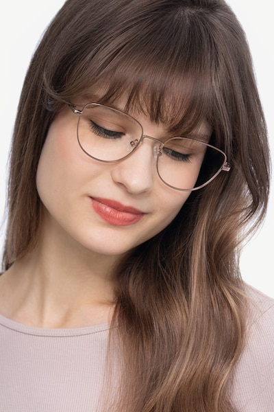 Clotilde Rose Gold Metal Eyeglass Frames for Women from EyeBuyDirect, Front View