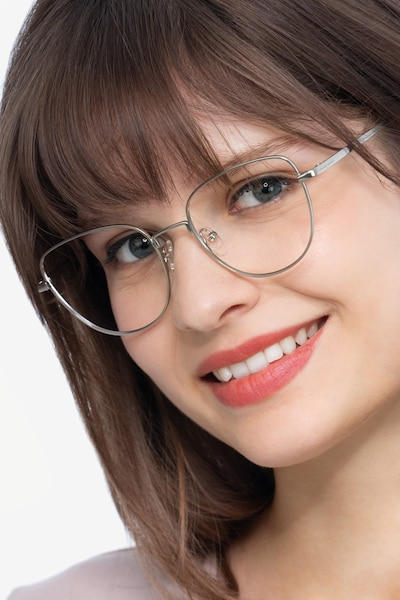 Clotilde Silver Metal Eyeglass Frames for Women from EyeBuyDirect