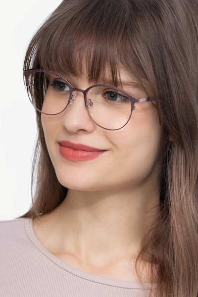 Emma Pink Metal Eyeglass Frames for Women from EyeBuyDirect, Front View