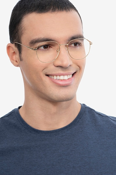 Vantage Gold Metal Eyeglass Frames for Men from EyeBuyDirect, Front View