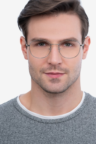 Vantage Silver Metal Eyeglass Frames for Men from EyeBuyDirect, Front View