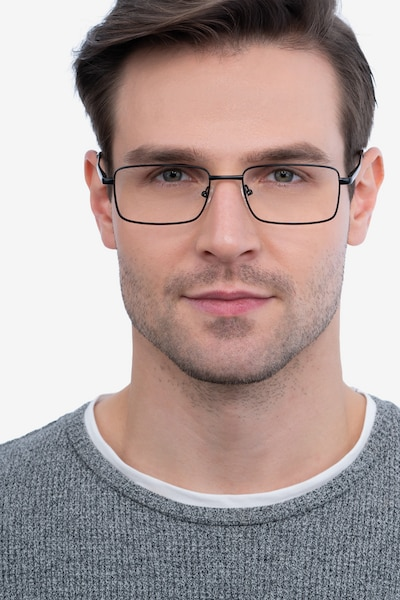 Arco Black Metal Eyeglass Frames for Men from EyeBuyDirect, Front View